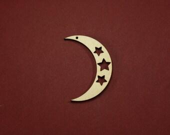 Moon Shape w/Stars Unfinished Thin Craft Wood Laser Cut Shape Variety of Sizes