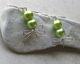 Double pearl dragonfly earrings lime green sterling silver dangle bride bridesmaids wedding party jewelry