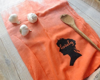 Natural Kitchen - Earthy - Boho Decor - Hostess Gift - Tangerine Orange Kitchen Towel - Flour Sack - Ombre Orange - Hand Towel