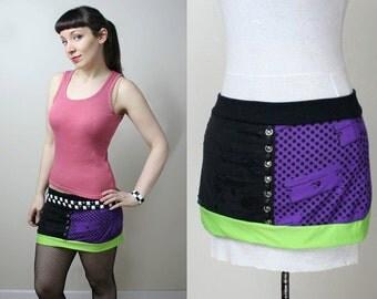 razor blade neon stud punk rock mini skirt - smarmyclothes 90s