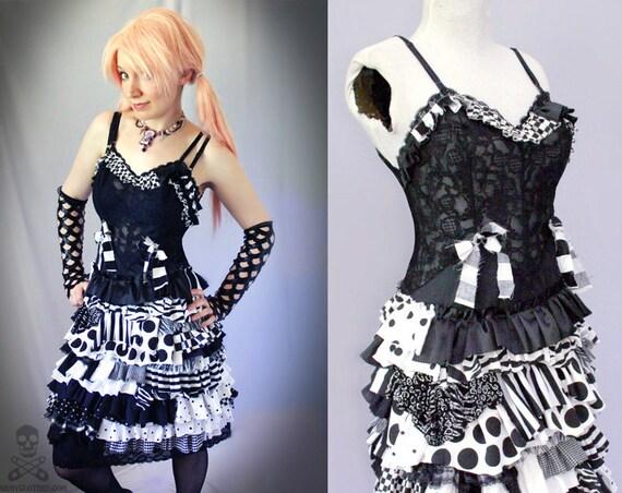 black white Psycho Sideshow ragdoll gothic zombie circus dress - smarmyclothes halloween