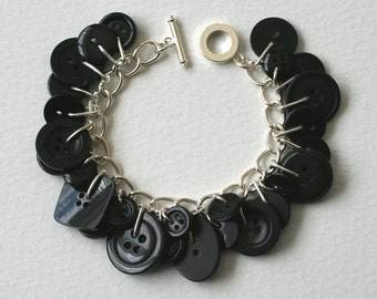 Button Bracelet Shiny Black Charm Bracelet