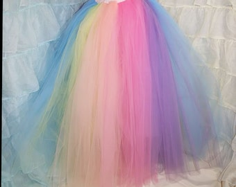 Pastel Rainbow Faerie Formal Alternative Wedding Skirt Fae All Sizes - MTCoffinz