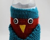 Knitted Owl Water Bottle Cozy - Red and Teal