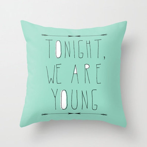 decorative pillow cover-home decor- mint green- typography- song lyrics-words-text-music- Home and Living