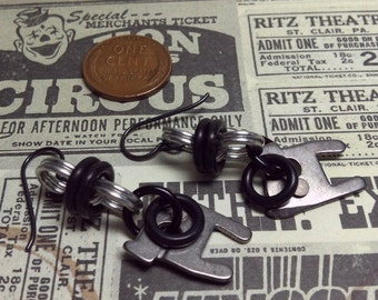 Handmade Steampunk earrings parts from 1935 royal typewriter and niobium earwires