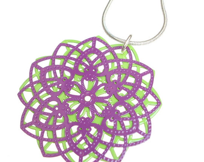 Spirograph Stainless Steel Pendant in Purple/Apple Green