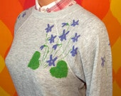 vintage sweatshirt 80s heathered gray handmade IVY floral raglan crewneck sweater Large morning glory