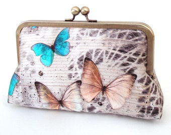 Butterflies clutch bag, silk purse, wedding accessory, bridal bag, bridesmaid gift, gift box, woodland wedding