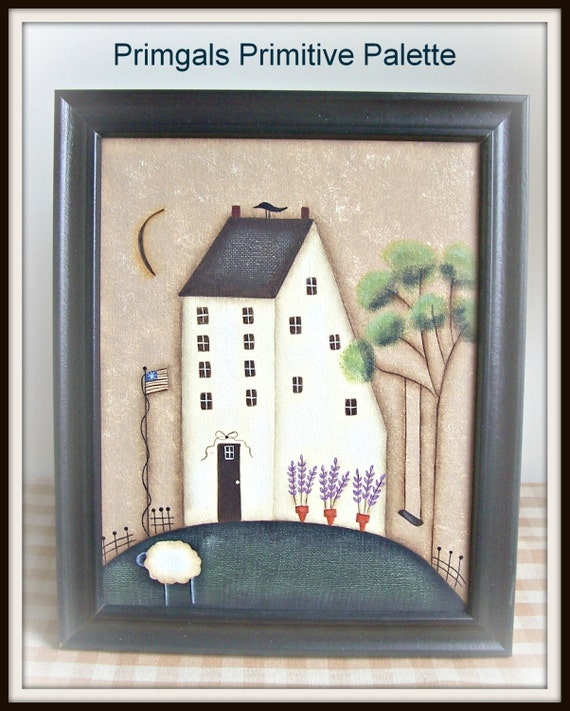 Spring Saltbox Primitive Canvas Painting Handpainted By