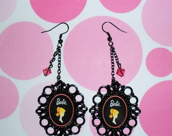 Vintage barbie earrings altered art jewelry wearable art