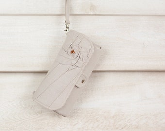 SmartPhone Purse 12x - Eco Rosie Clutch with ID pocket and Wristlet Strap in Flax -- Pick Your Fabric