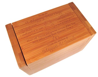 Wedding Recipe Box - Personalized Bamboo Recipe Box - Recipe for a Happy Marriage