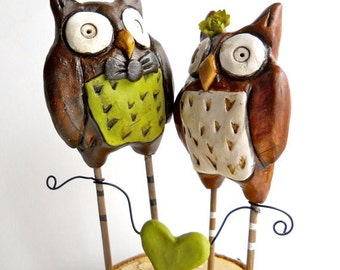 Rustic Wedding Cake Topper Woodland Owls in Brown and Green with heart