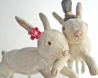 Rustic Wedding Cake Topper Leaping Bunnies in Brown and Pink