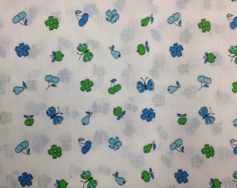Vintage 1970s Blue Green Fruit Butterfly Flower Print Fabric - 2 Yards - Fabric Yardage / Vintage Yardage / Cotton Fabric / 1970s Fabric