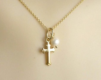 Gold  cross necklace with pearl charm, fate necklace, vermeil, 24K gold plated on .925 sterling silver , cross and pearl