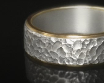 Sterling silver and 14k gold wedding band - Meteorite
