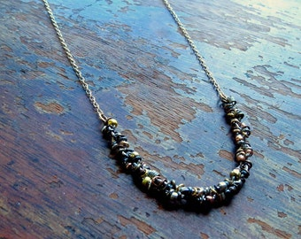Mixed Metal Bead Necklace / Boho Jewelry / Coachella Fashion / Rustic Organic Necklace / Gift BFF / Hippie / Gypsy / Textured Necklace