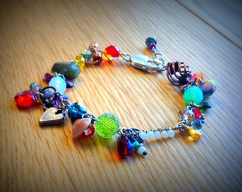 Colorful Charm Bracelet - Multicolor Beads - Labradorite - Unique Chunky Statement Bracelet - Christmas Gift Daughter - Sterling Clasp