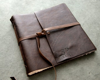 10x10 - Initials and Date - Leather Wedding Guest Book, Photo Album, Sketchbook, or Journal -Rustic 10x10