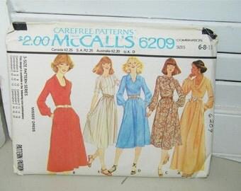 Vintage McCall's 6209 Dress Pattern Size 6 8 10 7820 Carefree UNCUT