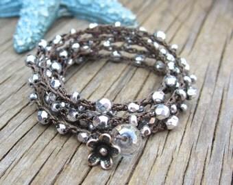 Starry night crocheted wrap bracelet or necklace, bohemian, crocheted jewelry, boho, casual, evening wear, day wear