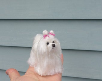 Custom Pet Portrait / Your Dog in Miniature / Cute / Handmade Poseable Art Sculpture Personalized gift / example Maltese