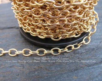 CLEARANCE - SPOOL - Quality Gold Plated Brass 4.6mm x 6.3mm Drawn Cable Chain