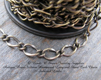 5 Feet Quality Antique Brass 5x8mm Hammered Long Short Chain