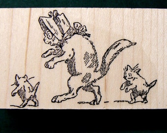 P39 Vintage style Kittens with mom rubber stamp