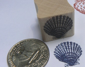 P24 Miniature Shell, clam, rubber stamp WM