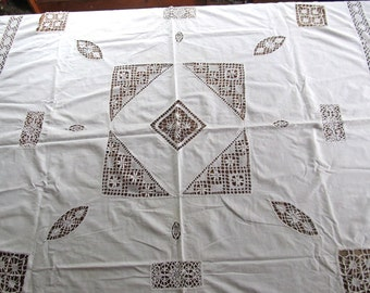 Antique Handmade Crocheted Lace Tablecloth