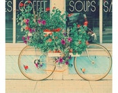 Travel Photography, Bicycle Photograph, Fine Art Print, Shabby Chic, Cottage Decor, Fine Art Photo, Mint Green, Summer Flowers