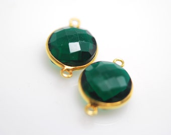 Matching round pair of green quartz connectors 1 pair 22.00