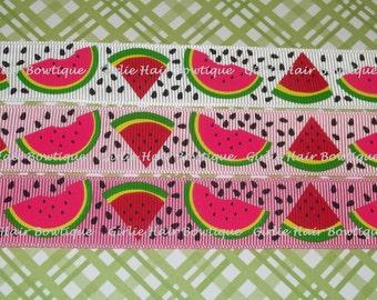 "Watermelon Ribbon 7/8"" Watermelon Grosgrain Ribbon 1 yd M2MG Ribbon By The Yard MTMG Fruit Ribbon Summer Ribbon Patriotic Ribbon 4th of July"