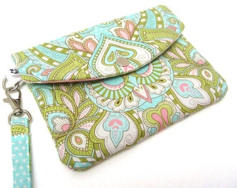 iPhone Wristlet Phone Wallet - Flowers in Pastel Blue Green and Pink