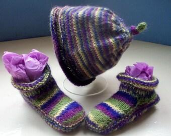 Alpaca baby hat booties fun set  first size