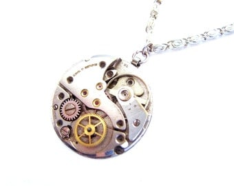 Steampunk Necklace - Watch Movement Ruby Jeweled - Unisex Necklace -