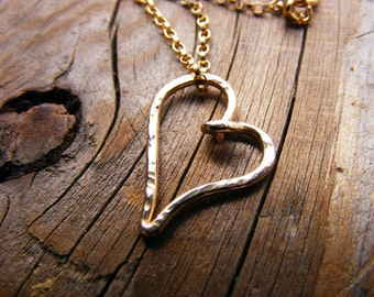 14Kt Gold Heart Necklace, Layering Necklace, 14kt Gold Heart Pendant On A Gold Filled Chain, Valentines Love Heart Necklace