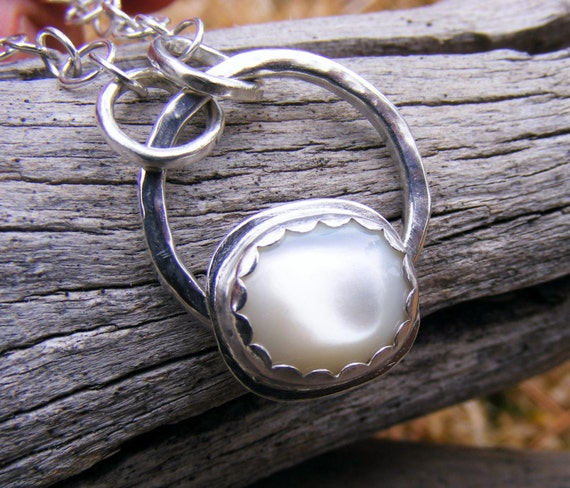 Pearl Necklace, Mother Of Pearl Sterling Silver Pendant, Bridal, Wedding, June Birthstone, White Gemstone Jewelry, Handcrafted