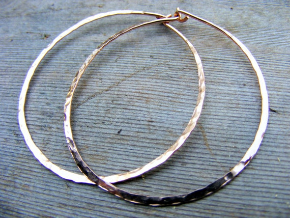 Rose Gold Hoops, Skinny, Slim, Big, Thin Hammered Hoop, Simple Light 14kt Pink Gold Filled Hoops Earring