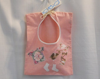 Pink Gingham Clothes Pin Holder made from Recycled Fabrics