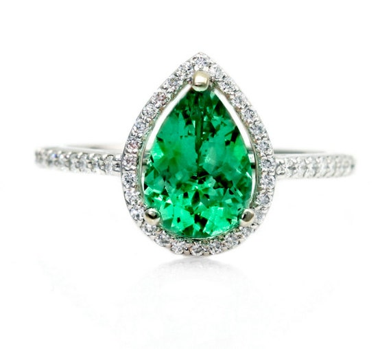 pear emerald engagement ring halo emerald by rareearth