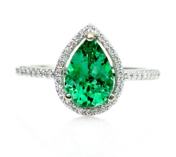 Pear Emerald Engagement Ring Diamond Halo Emerald By Rareearth