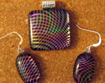 Fused Dichroic Glass Pendant and Earrings - Fused Glass Jewelry- Dichroic Jewelry