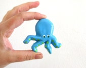 Turquoise Blue Octopus - kids dresser drawer knob