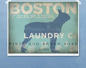 Boston Terrier laundry company laundry room artwork giclee archival signed artists print by stephen fowler Pick A Size