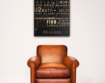 Custom Typography graphic art on canvas 24 x 36 by Stephen Fowler Wedding Anniversary Birthday Retirement gift