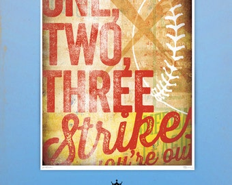 Three Strikes you're out Baseball art giclee archival signed artist's print by stephen fowler geministudio